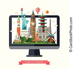 Flat design illustration with world famous landmarks on a display