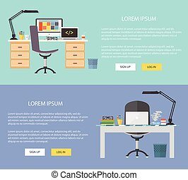 Flat design illustration workplace. Concepts web banner