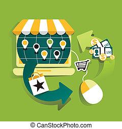 flat design illustraton concept of online shop