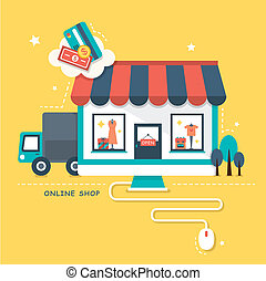 flat design illustraton concept of online shop - flat design...