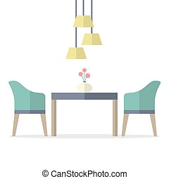 Flat Design Interior Dining Room Vector Illustration.