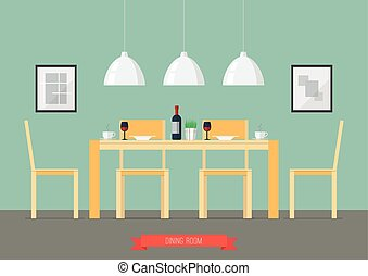 Flat Design Interior Dining Room. Vector Illustration