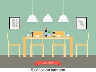 Flat Design Interior Dining Room. Vector Illustration