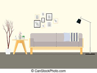 Flat Design Interior Living Room. Vector Illustration