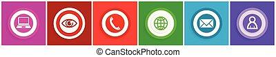 Flat design internet and social media vector icons