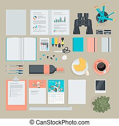 Flat design items for business