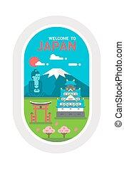 Flat design Japan landmarks