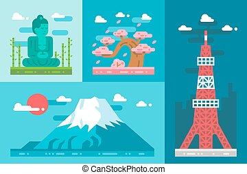 Flat design japan landmarks set