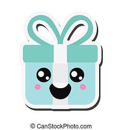 kawaii gift box icon