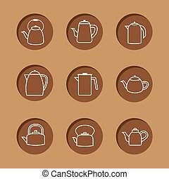 Flat Design Kettles Icon Set.