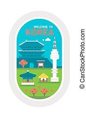 Flat design Korea landmarks