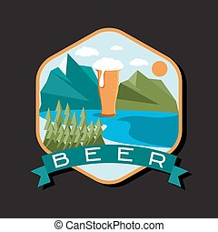 flat design label of beer glass with mountains