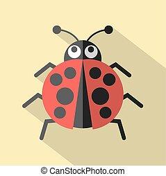 Flat Design Ladybug Icon Vector.