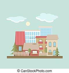 Flat design landscape day vector illustration