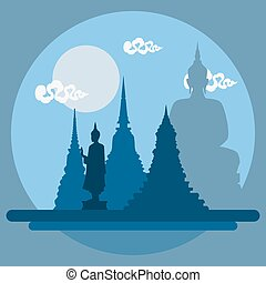 Flat design landscape of Thailand temple