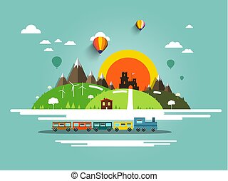 Flat Design Landscape with Steam Train, Old Castle and Hot Air Balloons