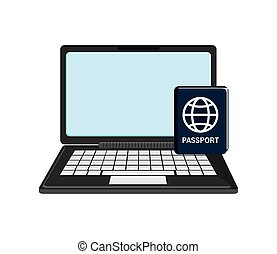 laptop and passport icon