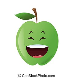 laughing apple cartoon icon