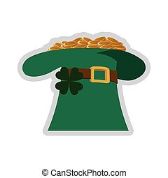 leprechaun hat with gold coins icon