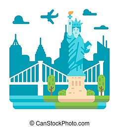 Flat design Liberty statue New York