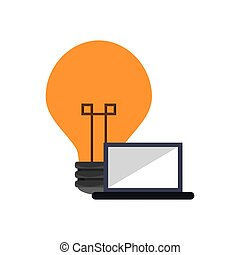 lightbulb and laptop icon