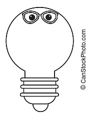 lightbulb with glasses icon