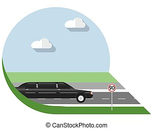 Flat design limousine icon