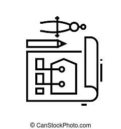 Flat design line icon, concept sign, outline vector illustration, linear symbol.