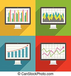 Flat design long shadow icons of computer display with financial charts and graphs