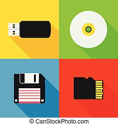 Flat design long shadow styled modern vector icon set of data storage devices