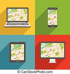 Flat design long shadow styled modern vector icon set of gadgets and devices with GPS map