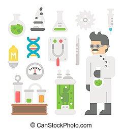 Flat design mad scientist item set