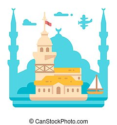 Flat design Maiden's tower Istanbul