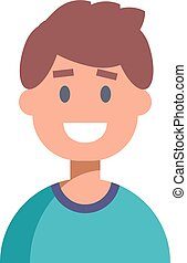 Flat Design Male Character Icon. Vector