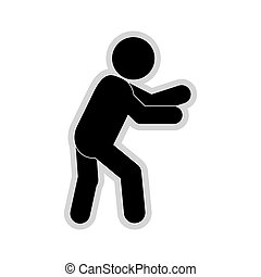 male pictogram moving icon - flat design male pictogram ...
