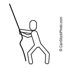 man pictogram pulling rope icon