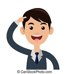 man pointing head icon - flat design man pointing head icon...