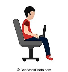 man using laptop on chair icon