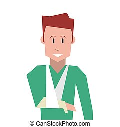 man with broken arm icon - flat design man with broken arm ...