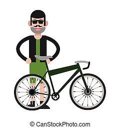 man with facial hair and bike icon - flat design man with...