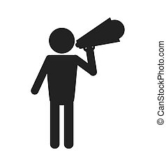 man with megaphone pictogram icon