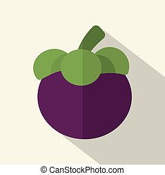 Flat Design Mangosteen Icon Vector Illustration