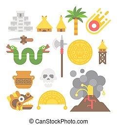 Flat design mayan items set