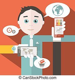 Flat Design Media Vector Illustration with Man
