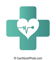 medical cross with heart cardiogram icon