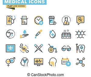Flat design medical supplies icons