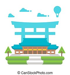 Flat design Meiji shrine Tokyo illustration vector