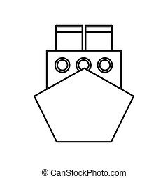 merchant container ship icon - flat design merchant...