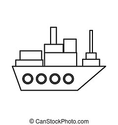 merchant container ship icon - flat design merchant...