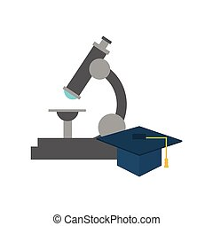 microscope and graduation cap icon